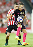 Athletic de Bilbao's Oscar de Marcos (l) and FC Barcelona's Denis Suarez during La Liga match. August 28,2016. (ALTERPHOTOS/Acero)