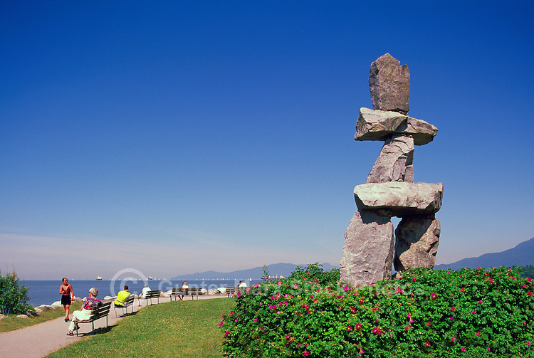 "The Inukshuk at English Bay, in the West End of Vancouver, British Columbia, Canada, in Summer.  Artist ""Alvin Kanak""."