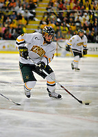1 February 2008: University of Vermont Catamounts' forward Jonathan Higgins, a Sophomore from Stratham, NH, in action against the University of New Hampshire Wildcats at Gutterson Fieldhouse in Burlington, Vermont. The seventh-ranked Wildcats defeated the Catamounts 5-1in front of a sellout crowd of 4,003...Mandatory Photo Credit: Ed Wolfstein Photo