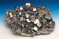 Cubic galena crystals, with marcasite and sphalerite on dolomite matrix, Joplin, Missouri, USA. Galena is the chief ore of lead. Its shiny metallic luster is striking.