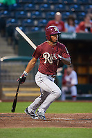 Frisco RoughRiders outfielder Nick Williams (1) at bat during a game against the Springfield Cardinals on June 3, 2015 at Hammons Field in Springfield, Missouri.  Springfield defeated Frisco 7-2.  (Mike Janes/Four Seam Images)