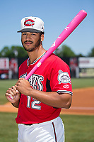 Carolina Mudcats outfielder Trent Clark (12) poses for a photo prior to the game against the Winston-Salem Dash at Five County Stadium on May 14, 2017 in Zebulon, North Carolina.  The Mudcats walked-off the Dash 11-10.  (Brian Westerholt/Four Seam Images)