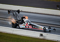 Sep 6, 2020; Clermont, Indiana, United States; NHRA top fuel driver Cory McClenathan during the US Nationals at Lucas Oil Raceway. Mandatory Credit: Mark J. Rebilas-USA TODAY Sports