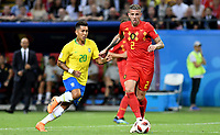 KAZAN - RUSIA, 06-07-2018: ROBERTO FIRMINO (Izq) jugador de Brasil disputa el balón con Toby ALDERWEIRELD (Der) jugador de Bélgica durante partido de cuartos de final por la Copa Mundial de la FIFA Rusia 2018 jugado en el estadio Kazan Arena en Kazán, Rusia. / ROBERTO FIRMINO (L) player of Brazil fights the ball with Toby ALDERWEIRELD (R) player of Belgium during match of quarter final for the FIFA World Cup Russia 2018 played at Kazan Arena stadium in Kazan, Russia. Photo: VizzorImage / Julian Medina / Cont
