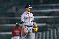 Kane County Cougars relief pitcher Ethan Larrison (33) during a Midwest League game against the Fort Wayne TinCaps at Parkview Field on April 30, 2019 in Fort Wayne, Indiana. Kane County defeated Fort Wayne 7-4. (Zachary Lucy/Four Seam Images)