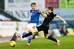 St Johnstone v Livingston…12.12.20   McDiarmid Park      SPFL<br />Ali McCann istackled by Scott Pittman<br />Picture by Graeme Hart.<br />Copyright Perthshire Picture Agency<br />Tel: 01738 623350  Mobile: 07990 594431