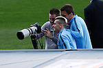 Atletico's Griezmann and Mandzukic during a training session the day before quarterfinal first leg Champions League soccer match against Real Madrid at Vicente Calderon stadium in Madrid, Spain. April 13, 2015. (ALTERPHOTOS/Victor Blanco)