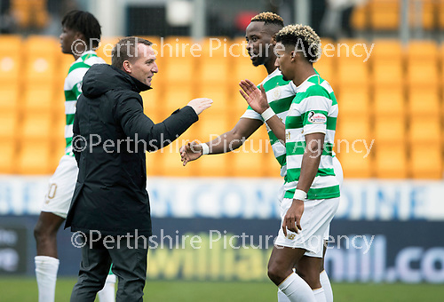 St Johnstone v Celtic…04.11.17…  McDiarmid Park…  SPFL<br />Brendan Rodgers celebrates at full time with Scott Sinclair and Moussa Dembele<br />Picture by Graeme Hart. <br />Copyright Perthshire Picture Agency<br />Tel: 01738 623350  Mobile: 07990 594431