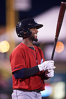 Columbus Clippers left fielder Yandy Diaz (27) on deck during a game against the Rochester Red Wings on June 14, 2016 at Frontier Field in Rochester, New York.  Rochester defeated Columbus 1-0.  (Mike Janes/Four Seam Images)