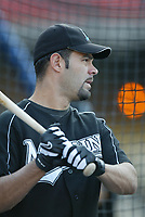 Mike Lowell of the Florida Marlins during a 2003 season MLB game at Dodger Stadium in Los Angeles, California. (Larry Goren/Four Seam Images)