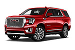 Stock pictures of low aggressive front three quarter view of 2021 GMC Yukon-Denali - 5 Door SUV Low Aggressive