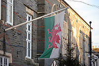 Pictured: The welsh flag at the Cardigan Guildhall in the town centre<br /> Re: The town of Cardigan in west Wales will be temporarily renamed Jumper tomorrow (Thursday).