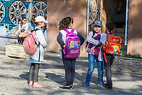 Chefchaouen, Morocco.  Teenage Girls on their Way Home after School.