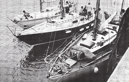 Winners Enclosure. At the conclusion of the final race of the inaugural ISORA season in 1972 from Holyhead-Rockabill-Dun Laoghaire, the berth at the East Pier near the National YC found (left to right) Class B winner and overall champion Leemara (Bill Cuffe Smith, HYC), Class A winner and overall champion Ruffian (Dick & Billy Brown, RUYC), and Class C wnner and third overall Casquet (Paddy Donegan, SSC)