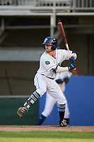 Princeton Rays second baseman Jake Palomaki (1) at bat during the first game of a doubleheader against the Johnson City Cardinals on August 17, 2018 at Hunnicutt Field in Princeton, Virginia.  Johnson City defeated Princeton 6-4.  (Mike Janes/Four Seam Images)