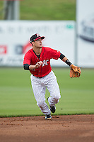 Kannapolis Intimidators shortstop Eddy Alvarez (1) on defense against the Hickory Crawdads at CMC-Northeast Stadium on April 17, 2015 in Kannapolis, North Carolina.  The Crawdads defeated the Intimidators 9-5 in game one of a double-header.  (Brian Westerholt/Four Seam Images)