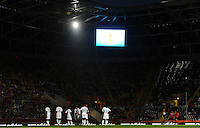 Teams of Nigeria (l) and Canada at a power blackout during the FIFA Women's World Cup at the FIFA Stadium in Dresden, Germany on July 5th, 2011.