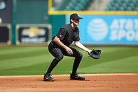 Vanderbilt Commodores shortstop Connor Kaiser (12) on defense against the Sam Houston State Bearkats in game one of the 2018 Shriners Hospitals for Children College Classic at Minute Maid Park on March 2, 2018 in Houston, Texas. The Bearkats walked-off the Commodores 7-6 in 10 innings.   (Brian Westerholt/Four Seam Images)
