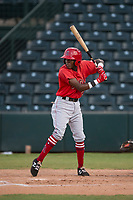 AZL Angels second baseman Daniel Ozoria (23) at bat during an Arizona League game against the AZL Padres 2 at Tempe Diablo Stadium on July 18, 2018 in Tempe, Arizona. The AZL Padres 2 defeated the AZL Angels 8-1. (Zachary Lucy/Four Seam Images)
