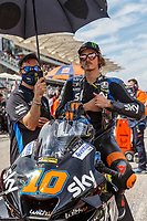 3rd October 2021; Austin, Texas, USA; Luca Marini (10) - (ITA) riding a Ducati for the SKY VR46 Avintia Team on the grid for the MotoGP Red Bull Grand Prix of the Americas held October 3, 2021 at the Circuit of the Americas in Austin, TX.(Photo by Allan Hamilton/Icon Sportswire)