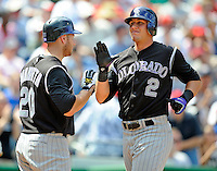 17 August 2008: Colorado Rockies' shortstop Troy Tulowitzki (2) gets congrats at home plate after scoring against the Washington Nationals at Nationals Park in Washington, DC. The Rockies defeated the Nationals 7-2, sweeping the 3-game series, and handing the last place Nationals their 10th consecutive loss. ..Mandatory Photo Credit: Ed Wolfstein Photo