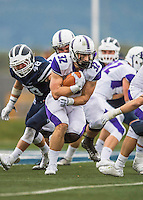8 October 2016: Amherst College Purple & White Running Back Jack Hickey, a Sophomore from Melrose, MA, in action against the Middlebury College Panthers at Alumni Stadium in Middlebury, Vermont. The Panthers edged out the Purple & While 27-26. Mandatory Credit: Ed Wolfstein Photo *** RAW (NEF) Image File Available ***