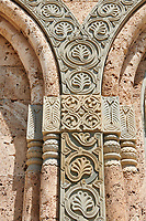 Close up Pictures & images of the relief xculpture stonework.The Monastery of St. Nino at Bodbe,  a Georgian Orthodox monastic complex and the seat of the Bishops of Bodbe, Sighnaghi, Kakheti, Georgia.