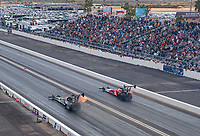 Feb 23, 2020; Chandler, Arizona, USA; NHRA top fuel driver Antron Brown (left) against Doug Kalitta during the Arizona Nationals at Wild Horse Pass Motorsports Park. Mandatory Credit: Mark J. Rebilas-USA TODAY Sports