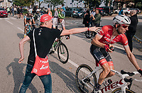 Bauke Mollema (NED/Trek-Segafredo) catching a bottle up the Madonna del Ghisallo (754m)<br /> <br /> 112th Il Lombardia 2018 (ITA)<br /> from Bergamo to Como: 241km