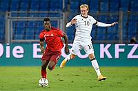 6th August 2020, Basel, Switzerland. UEFA National League football, Switzerland versus Germany;  Breel Embolo, SUI breaks from Julian Brandt, GER