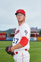 Spokane Indians pitcher Joe Corbett (37) poses for a photo before a Northwest League game against the Hillsboro Hops at Avista Stadium on August 23, 2019 in Spokane, Washington. Hillsboro defeated Spokane 8-2. (Zachary Lucy/Four Seam Images)