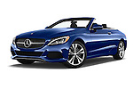 Stock pictures of low aggressive front three quarter view of 2018 Mercedes Benz C-Class C-300 2 Door Convertible Low Aggressive