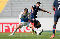 GUADALAJARA, MEXICO - MARCH 18: Manfred Ugalde #14 of Costa Rica and  Mauricio Pineda #5 of the United States battle during a game between Costa Rica and USMNT U-23 at Estadio Jalisco on March 18, 2021 in Guadalajara, Mexico.