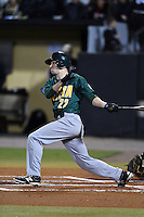 Siena Saints outfielder Dan Swain (22) at bat during the opening game of the season against the UCF Knights on February 13, 2015 at Jay Bergman Field in Orlando, Florida.  UCF defeated Siena 4-1.  (Mike Janes/Four Seam Images)