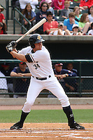Luke Murton #34 of the Charleston RiverDogs at bat during a game against the Rome Braves on April 27, 2010 in Charleston, SC.