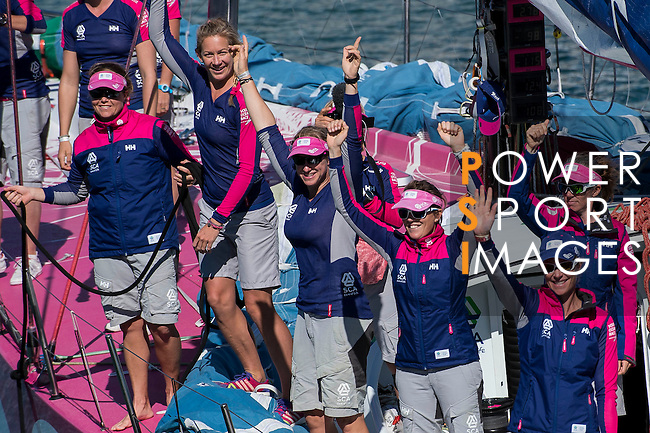 Team SCA members celebrates after winning The New Zealand Herald In-Port Race Auckland as part of the Volvo Ocean Race 2014-2015 Leg 5 Auckland - Itajai on 14 March 2015 in Auckland, New Zealand. Photo by Victor Fraile / Power Sport Images