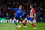 Viktor Fischer (L) of FC Copenhague fights for the ball with Juan Francisco Torres Belen, Juanfran, of Atletico de Madrid during the UEFA Europa League 2017-18 Round of 32 (2nd leg) match between Atletico de Madrid and FC Copenhague at Wanda Metropolitano  on February 22 2018 in Madrid, Spain. Photo by Diego Souto / Power Sport Images
