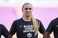 ORLANDO, FL - FEBRUARY 24: Shelina Zadorsky #4 of the CANWNT stands for the national anthem before a game between Brazil and Canada at Exploria Stadium on February 24, 2021 in Orlando, Florida.
