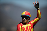 ARCADIA, CA - OCTOBER 01: Jockey, Martin Pedroza waves to fans after winnings a race at Santa Anita Park on October 01, 2016 in Arcadia, California. (Photo by Alex Evers/Eclipse Sportswire/Getty Images)