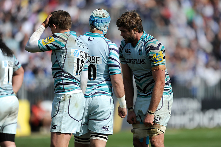 (L-R) Toby Flood, Jordan Crane and Geoff Parling of Leicester Tigers look dejected a the final whistle during the Aviva Premiership match between Bath Rugby and Leicester Tigers at The Recreation Ground on Saturday 20th April 2013 (Photo by Rob Munro)