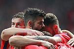 Atletico de Madrid's Gabi Fernandez, Diego Costa, Saul Niguez and Antoine Griezmann celebrate goal during Europa League Quarter-finals, 1st leg. April 5,2018. (ALTERPHOTOS/Acero)