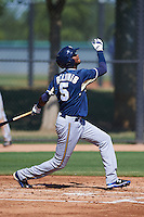 Milwaukee Brewers Carlos Belonis (5) during an instructional league game against the Los Angeles Dodgers on October 13, 2015 at Cameblack Ranch in Glendale, Arizona.  (Mike Janes/Four Seam Images)