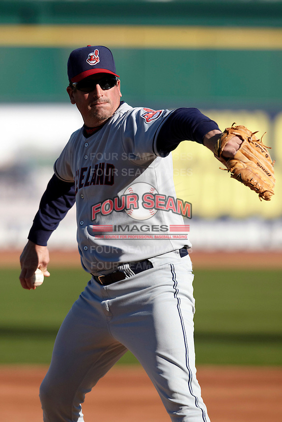 Former major league pitcher Dave Burba delivers a pitch during the campers vs pros game at the Cleveland Indians Fantasy Camp at Goodyear Stadium on January 19, 2012 in Goodyear, Arizona.  (Mike Janes/Four Seam Images)