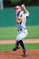 University of Hartford Hawks pitcher Sam McKay (18) delivers a pitch during a game versus the Boston College Eagles at Pellagrini Diamond at Shea Field on May 9, 2015 in Chestnut Hill, Massachusetts. (Ken Babbitt/Four Seam Images)