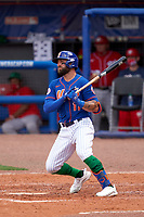 New York Mets Kevin Pillar (11) bats during a Major League Spring Training game against the Washington Nationals on March 18, 2021 at Clover Park in St. Lucie, Florida.  (Mike Janes/Four Seam Images)