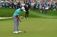 6th June 2021; Dublin, Ohio, USA; Collin Morikawa (USA) watches his putt on 18 during the playoff hole as Patrick Cantlay (USA) looks on from the edge of the green during the Memorial Tournament final round at Muirfield Village Golf Club