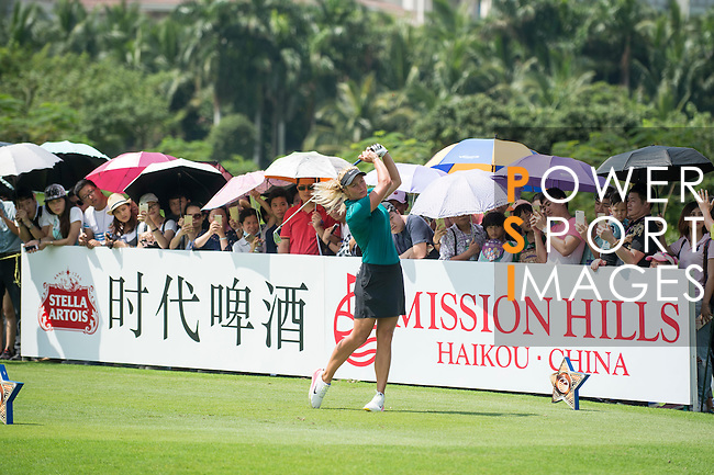 Suzann Pettersen tees off during the World Celebrity Pro-Am 2016 Mission Hills China Golf Tournament on 23 October 2016, in Haikou, Hainan province, China. Photo by Marcio Machado / Power Sport Images