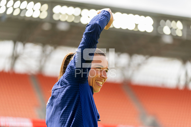 HOUSTON, TX - JUNE 9: Tobin Heath #17 of the USWNT warms up before a training session at BBVA Stadium on June 9, 2021 in Houston, Texas.