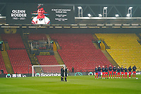 A minute's applause to celebrate the life of Glen Roeder ahead of the Sky Bet Championship behind closed doors match between Watford and Wycombe Wanderers at Vicarage Road, Watford, England on 3 March 2021. Photo by David Horn.