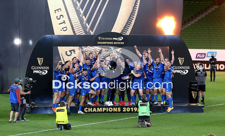 Saturday 12th September 2020 | PRO14 Final - Leinster vs Ulster<br /> <br /> Leinster celebrate after they won the Guinness PRO14 Final between Leinster ands Ulster at the Aviva Stadium, Lansdowne Road, Dublin, Ireland. Photo by John Dickson / Dicksondigital